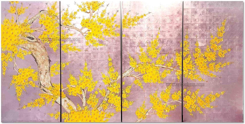 Set de Cuadro de Madera lacada 80 x 160 cm – Flor de Ciruela Amarilla Pintada a Mano – Fondo Plateado Rosa (Ref. 8S-113536) – Artesanía de Vietnam