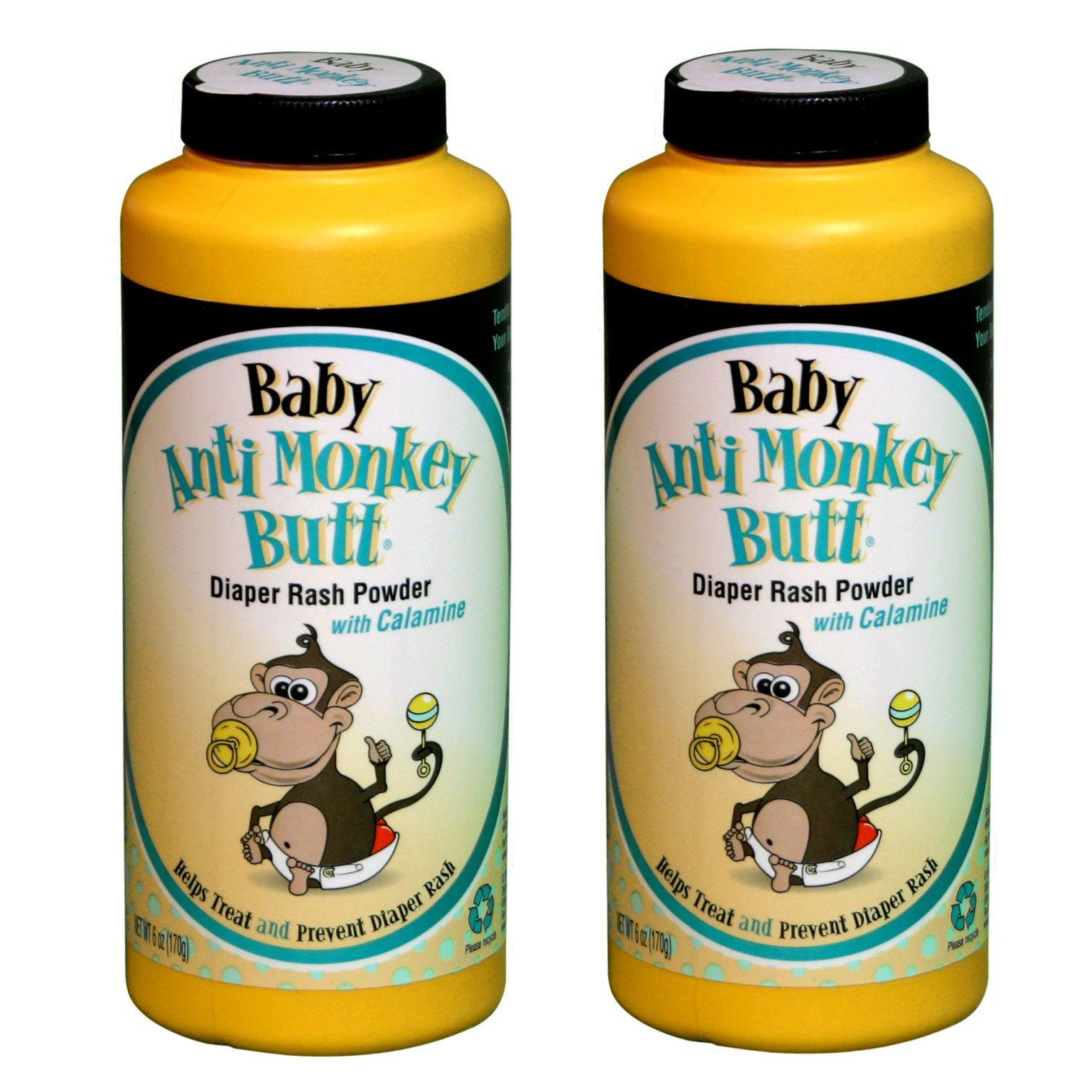 Baby Anti-Monkey Butt Diaper Rash Powder, 6oz. Bottle - 2 Pack by Baby Anti-Monkey Butt