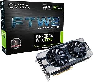 EVGA GeForce GTX 1070 FTW2 Gaming, 8GB GDDR5, iCX Technology - 9 Thermal Sensors & RGB LED G/P/M, Asynch Fan, Optimized Airflow Design Graphics Card 08G-P4-6676-KR