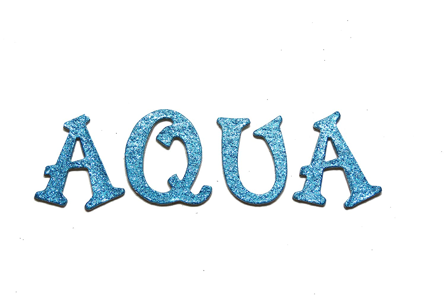 Peacock Aqua Blue Metallic Glitter HandCut 1.5 Chipboard Uppercase Letters Alphabet set 60 pcs Stickers