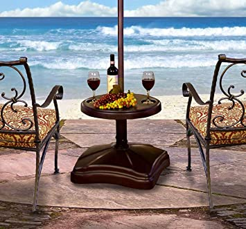 Shademobile RU22 6250 Rolling Umbrella Stand And Accessory Table, Bronze