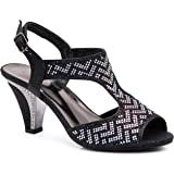 3b04dbfa18d22 Enzo Romeo Jupiter Women's Pointy Toe High Mid Heel Sexy Ankle Strap ...
