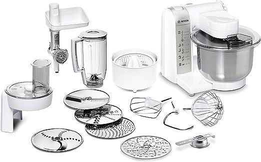 Bosch MUM48140DE - Robot de cocina (versatilidad mediante varios accesorios, cuenco grande para mezclar, 4 niveles, 600 W), color blanco: Amazon.es: Hogar