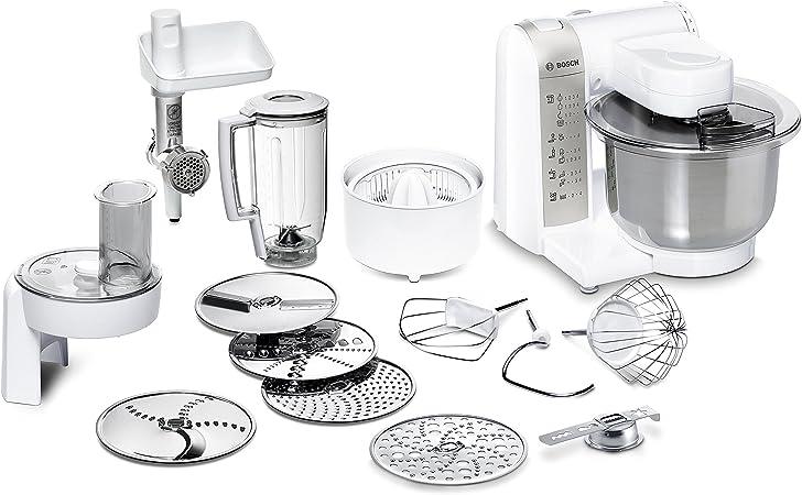 Bosch MUM48140DE Robot de cocina, versátil, con varios accesorios, cuenco grande, 4 niveles de mezcla, 600 W, color blanco: Amazon.es: Hogar