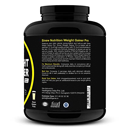 Sinew Nutrition Weight Gainer Pro with Digestive Enzymes - 2 kg (Kesar  Badam Pista)