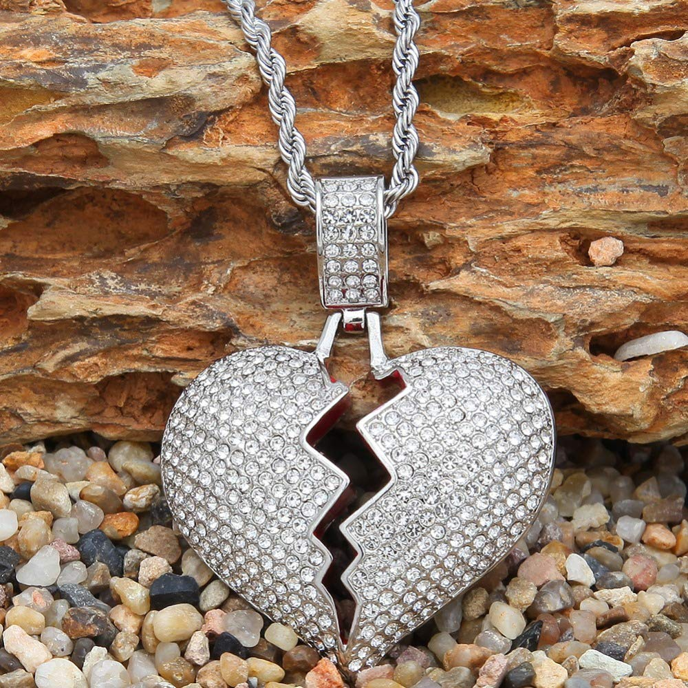 Davitu New Men Hip hop iced Out Bling Heart Pendant Necklaces 60cm Long Twisted Chain Fashion Necklace Male Hiphop Jewelry Gifts Metal Color: Gold-Color, Length: 60cm