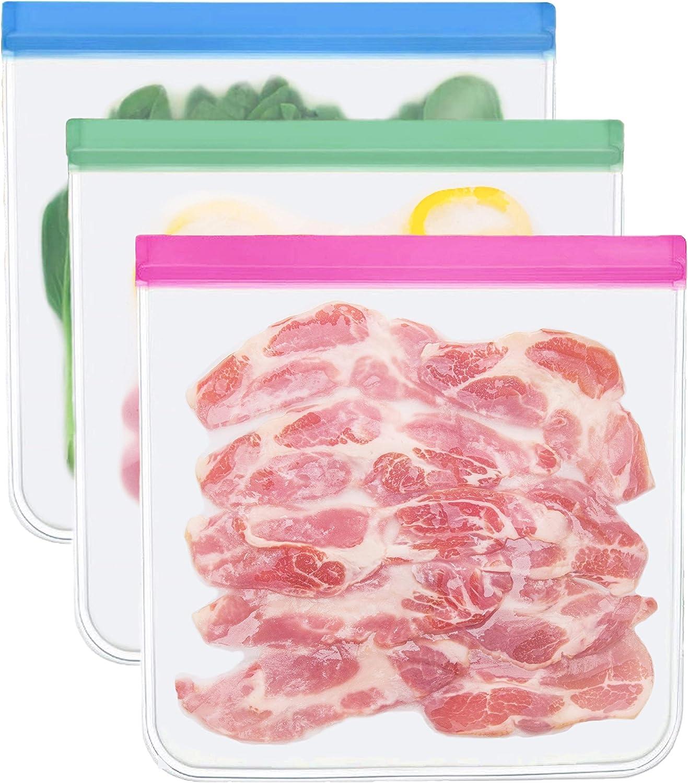 Reusable Storage Bags - 3 Pack BPA FREE Food Bag Reusable Sandwich Bags Ziplock Storage Bags Containers Plastic Conteiner Freezer Gallon