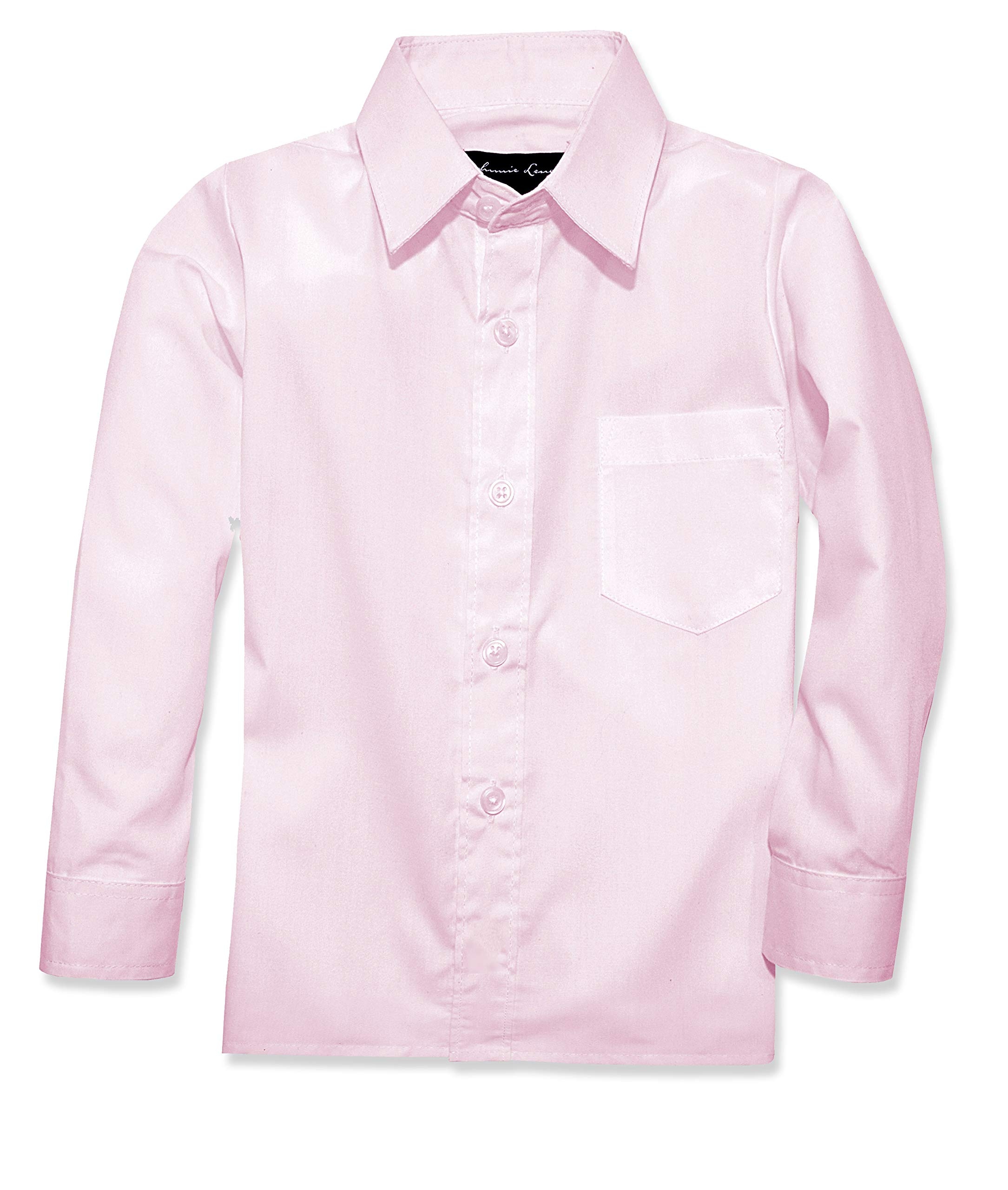 Johnnie Lene Boy's Long Sleeves Dress Shirt from Baby to Teen JJL32 (3T, Pink)