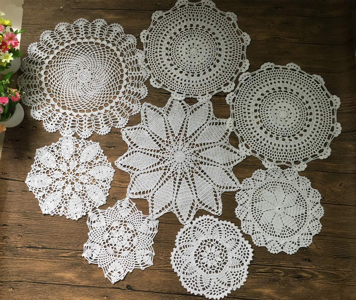 MindPlus Set of 8pcs 100% Cotton Hand Made Crochet Doilies 9-16 inches Round Crochet Lace Doily White Wedding Decorate Hight Tea by Mindplus