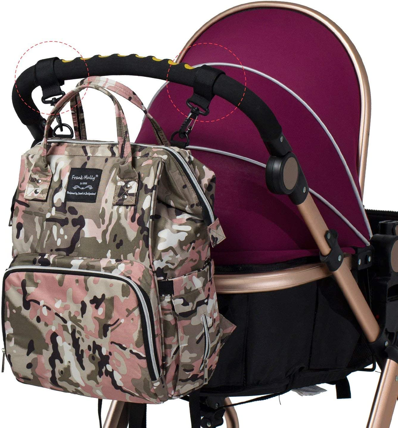 Pink Camo SoHo Diaper Bag Backpack Metropolitan 5 pcs Nappy Tote Bag for Baby mom dad Insulated Unisex Multifunction Large Capacity Waterproof Durable Includes Changing pad Stroller Straps