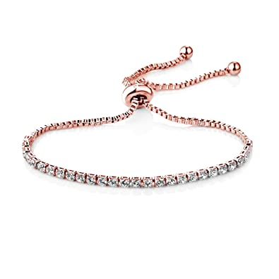 068d0090e Philip Jones Rose Gold Solitaire Friendship Bracelet Created with Austrian  Crystals: Philip Jones: Amazon.co.uk: Jewellery