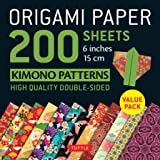Origami Paper Kimono Patterns: Tuttle Origami Paper; High-quality Double-sided Origami Sheets Printed With 12 Patterns; Instructions for 6 Projects Included; 200 Sheets, 6 Inch, 15 Cm