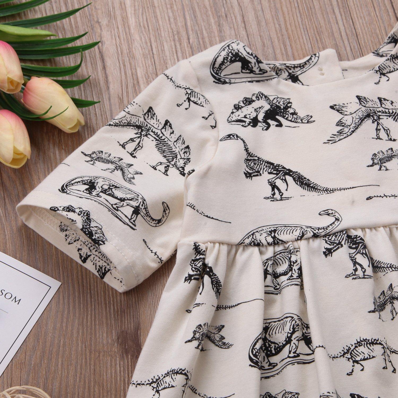 yannzi Baby Girls Dinosaur Dress Clothes Ruffle Sleeve Tutu Skirt Backless Sundress Birthday Party Princess Formal Outfit