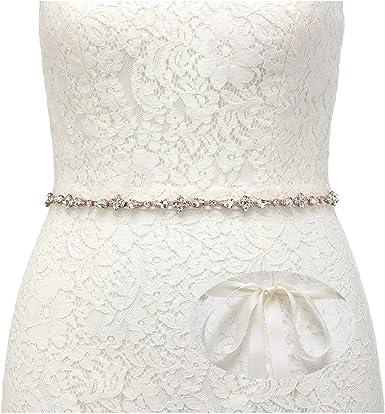 New Rose gold Crystal Bridal Sash Embellished Brilliant Rhinestone Wedding Belt