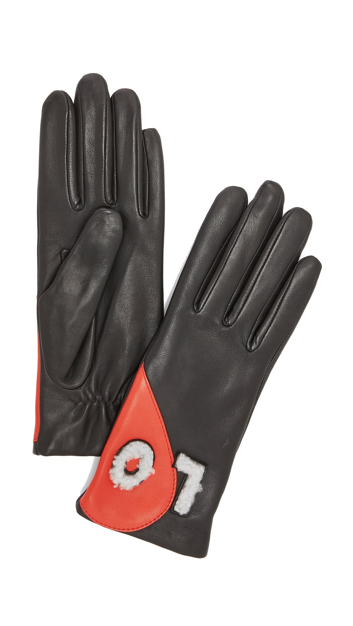 Agnelle Women's Love Leather Gloves, Black/Red, Small