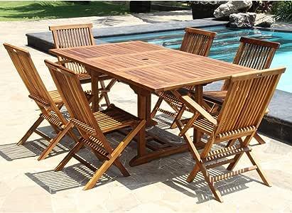 Garden and Co - Conjunto de jardín de teca aceitada para 6/8 personas - mesa cuadrada/rectangular, 4 sillas + 2 sillones, medida 100 cm: Amazon.es: Jardín
