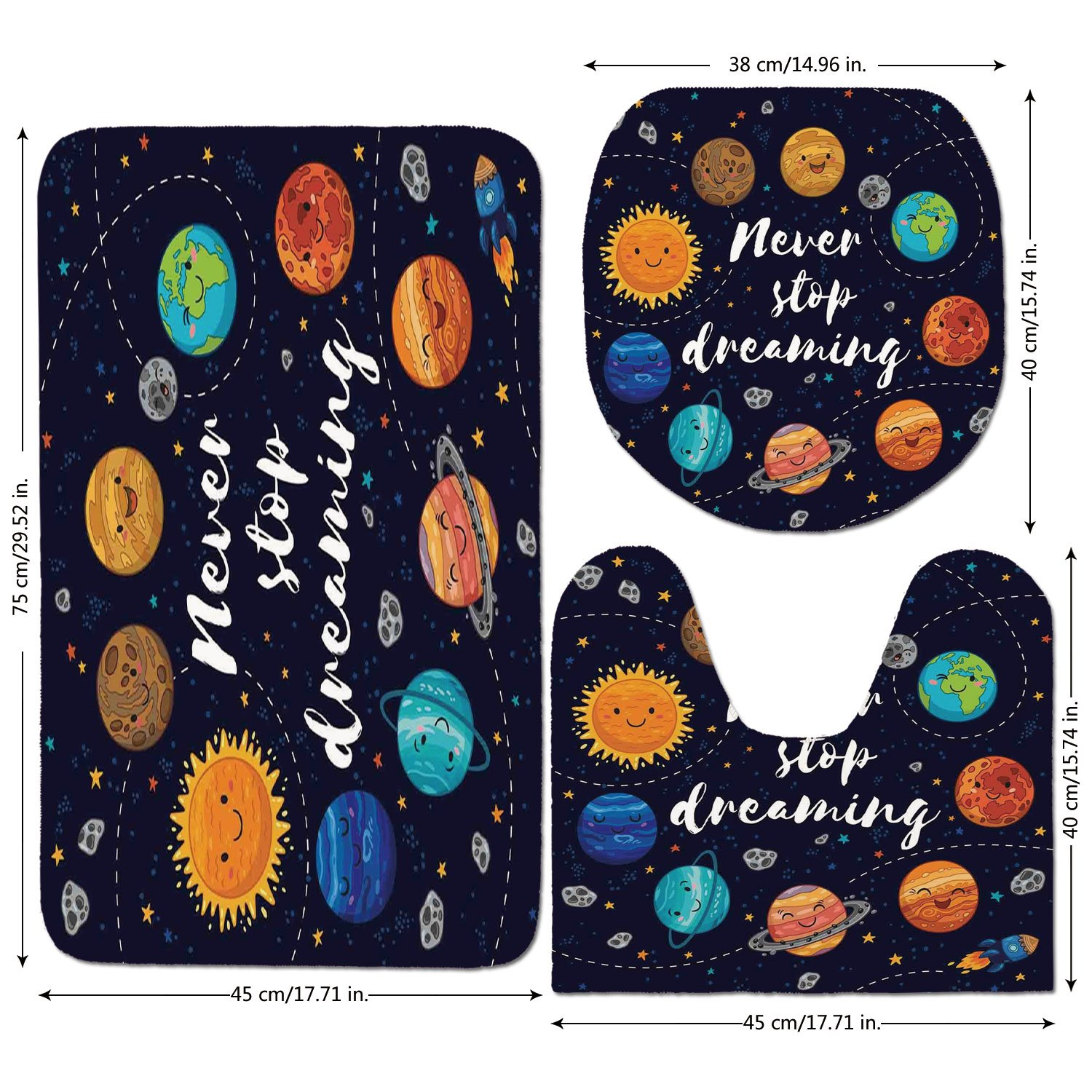 3 Piece Bathroom Mat Set,Quote,Outer Space Planets and Star Cluster Solar System Moon and Comets Sun Cosmos Illustration,Multi,Bath Mat,Bathroom Carpet Rug,Non-Slip