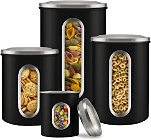 Canister Sets for Kitchen Counter - Stainless Steel - Matte Black Finished - Sugar and Flour Canisters Set of 4 - Food Storage Containers