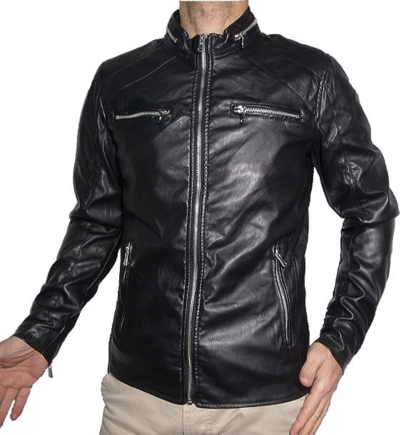 Chiodo Giacca Uomo Ragazzo Giacchetto Giubbino Giubbotto Finta Pelle  Ecopelle Corto Slim Avvitato Aderente Skin Moto Motociclista Biker   Amazon.it  ... dc51cf49c0f6