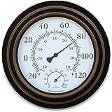 """8"""" Metal Decorative Indoor / Outdoor Thermometer and Hygrometer (Bronze)"""