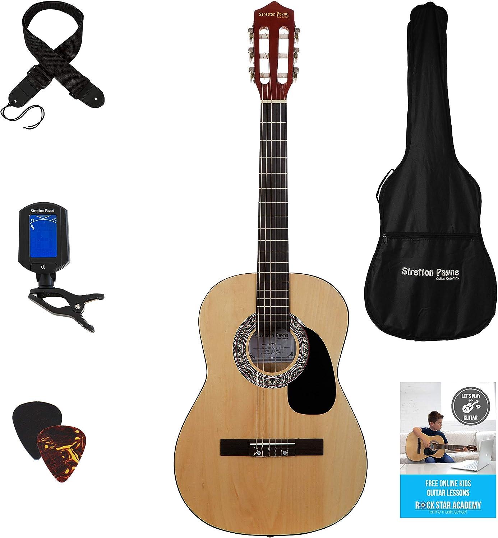 Stretton Payne SP34 - Kit de guitarra acústica (3/4, 6 cuerdas, nylon), color natural