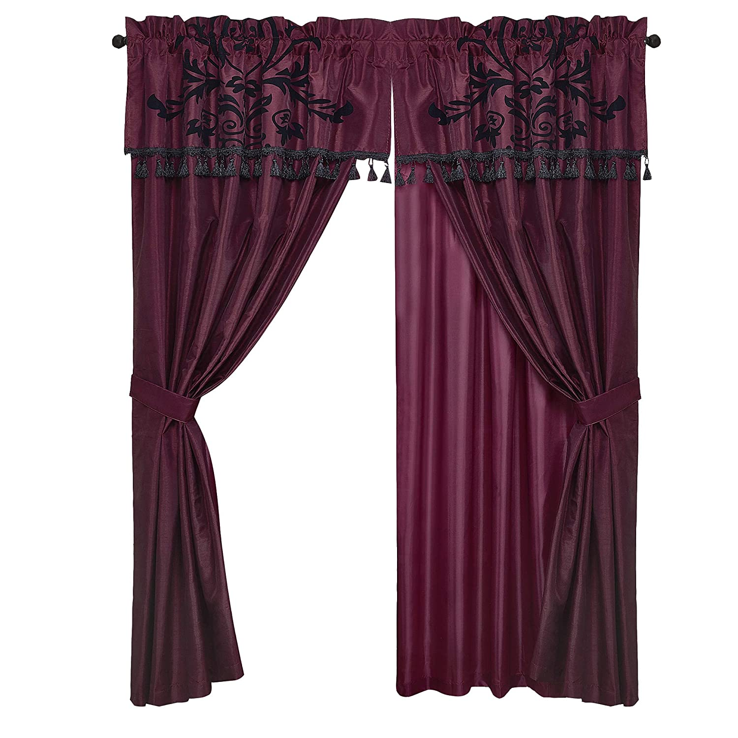 Violet//Black Chezmoi Collection 4-Piece Flocked Floral Faux Silk Window Curtain Set with Sheer Backing Valance