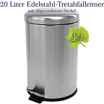 Amazon De 20 L Edelstahl Tret Abfalleimer Kuchen Mulleimer 20 Liter