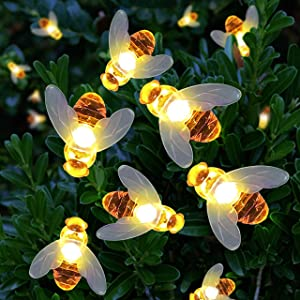 Joiedomi Solar String Lights 21ft 30 LED Waterproof Simulation Honey Bees Decor for Christmas Home Party Garden Patio Xmas Outdoor Decor