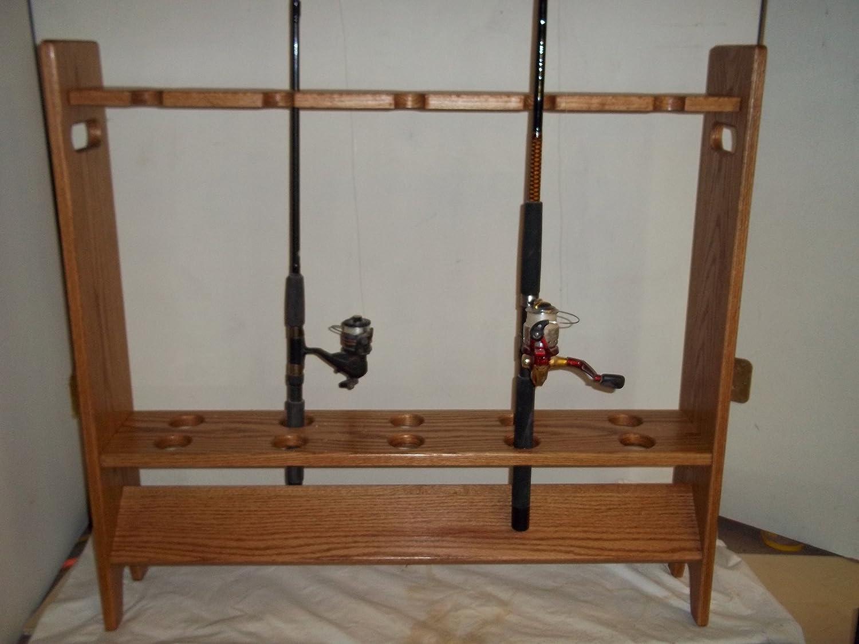 釣りポールとロッドラック~ Golden Oak Finish   B01591M2RI