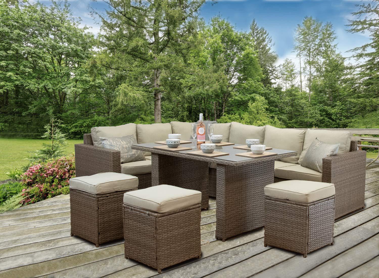 CasaGiardino Brown Grey Rattan Corner Sofa Outdoor Patio Garden Furniture  Set