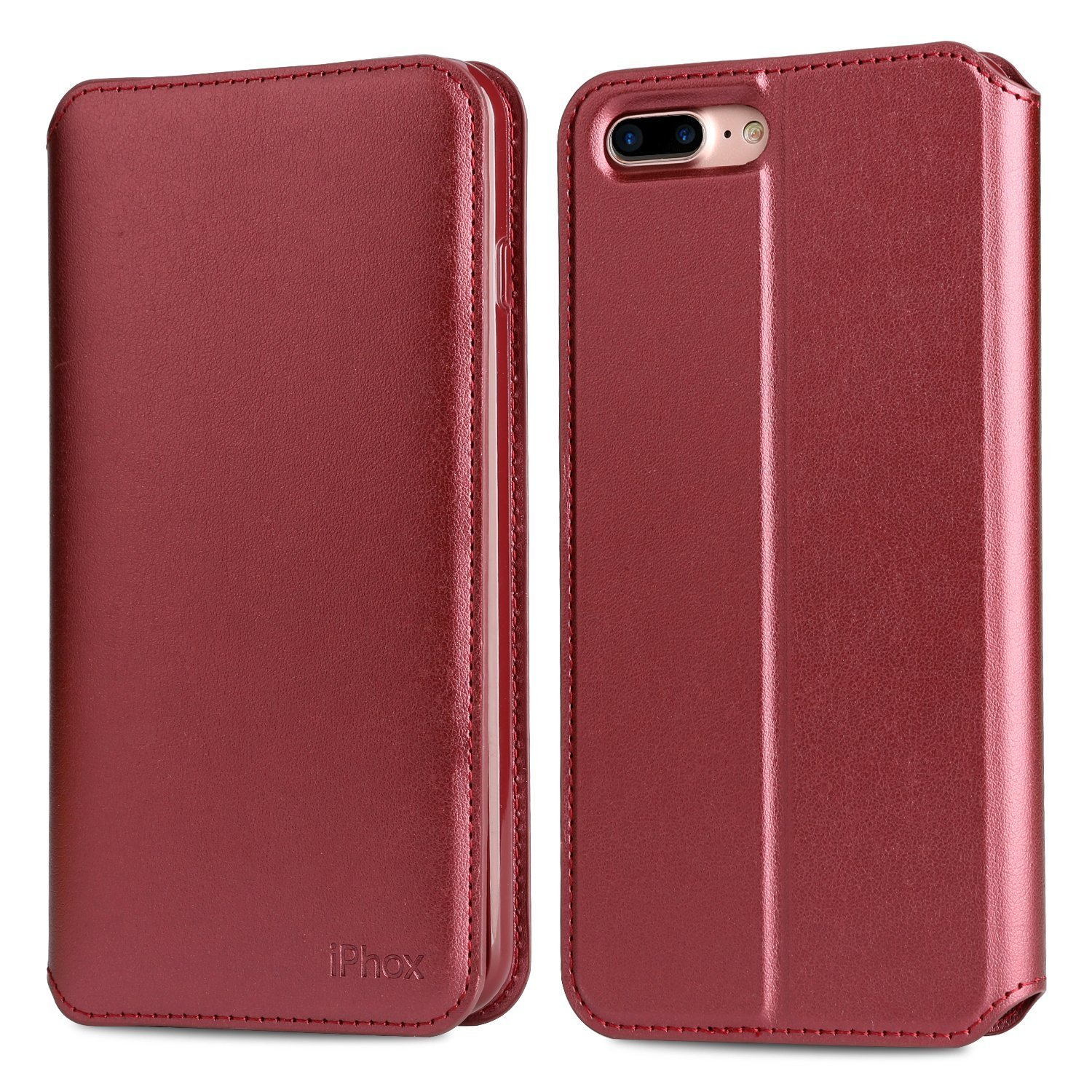 iPhone 8 Plus/7 Plus Leather Case, IPHOX Folio Leather Wallet Case Wireless Charging with [Kickstand] [Card Slots] [Magnetic Closure] Flip Notebook Cover Case for iPhone 7 Plus/8 Plus-CP (Red& BU/C) IPHOX-CP-7Plus-Red/BU