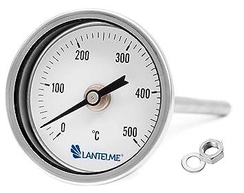Lantelme Horno de 500 ° c grados/tandoor, horno/parrilla/fumador/fumar termómetros analógicos y bimetálico. 15 cm de largo