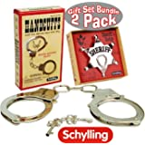 Schylling Classic Metal Handcuffs & Law Man Sheriff's Badge Gift Set Bundle - 2 Pack