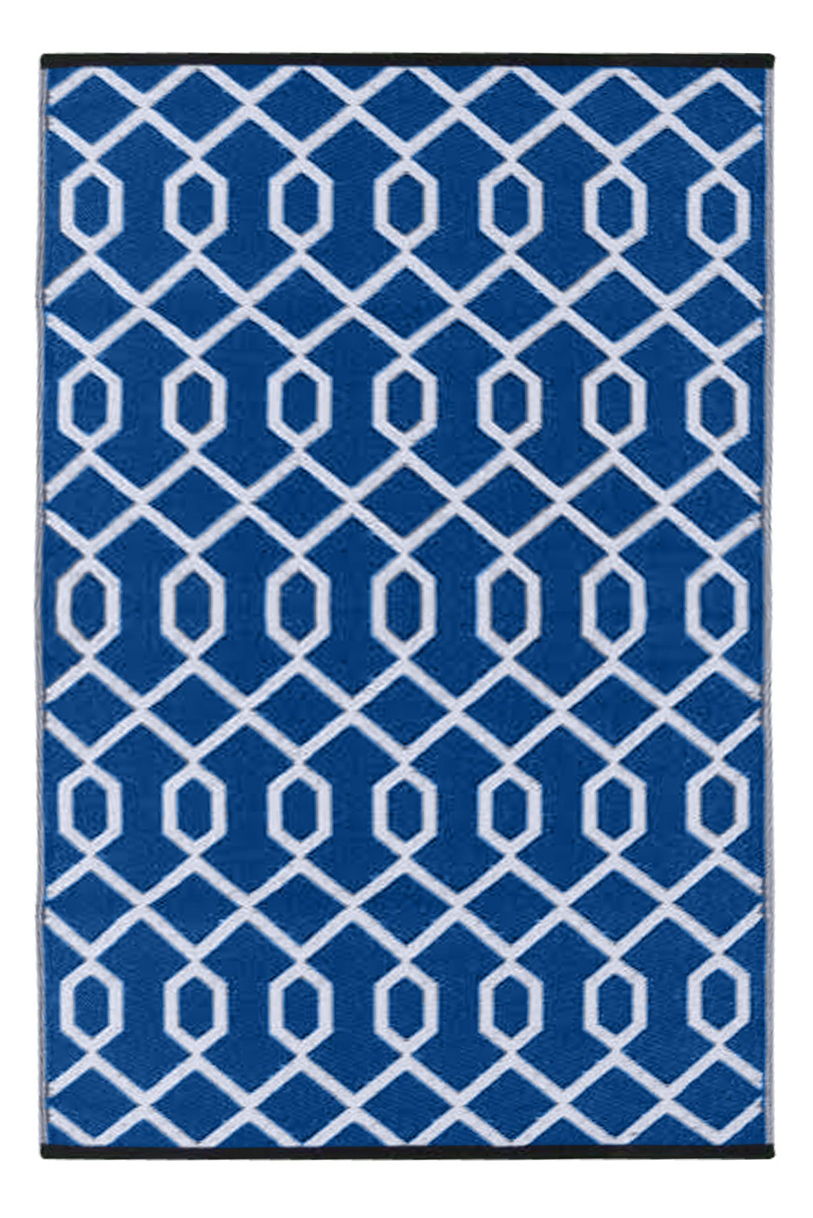 Green Decore Valencia Outdoor/Plastic/Reversible Eco Rug, 90 cm L x 150 cm W, Blue/White