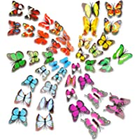 Kleurrijke 3D Vlinder Muursticker 72Pcs,3D Vlinder Muurstickers Set,PVC Simulatie Vlinder,Zelfklevend DIY-Art Decor…