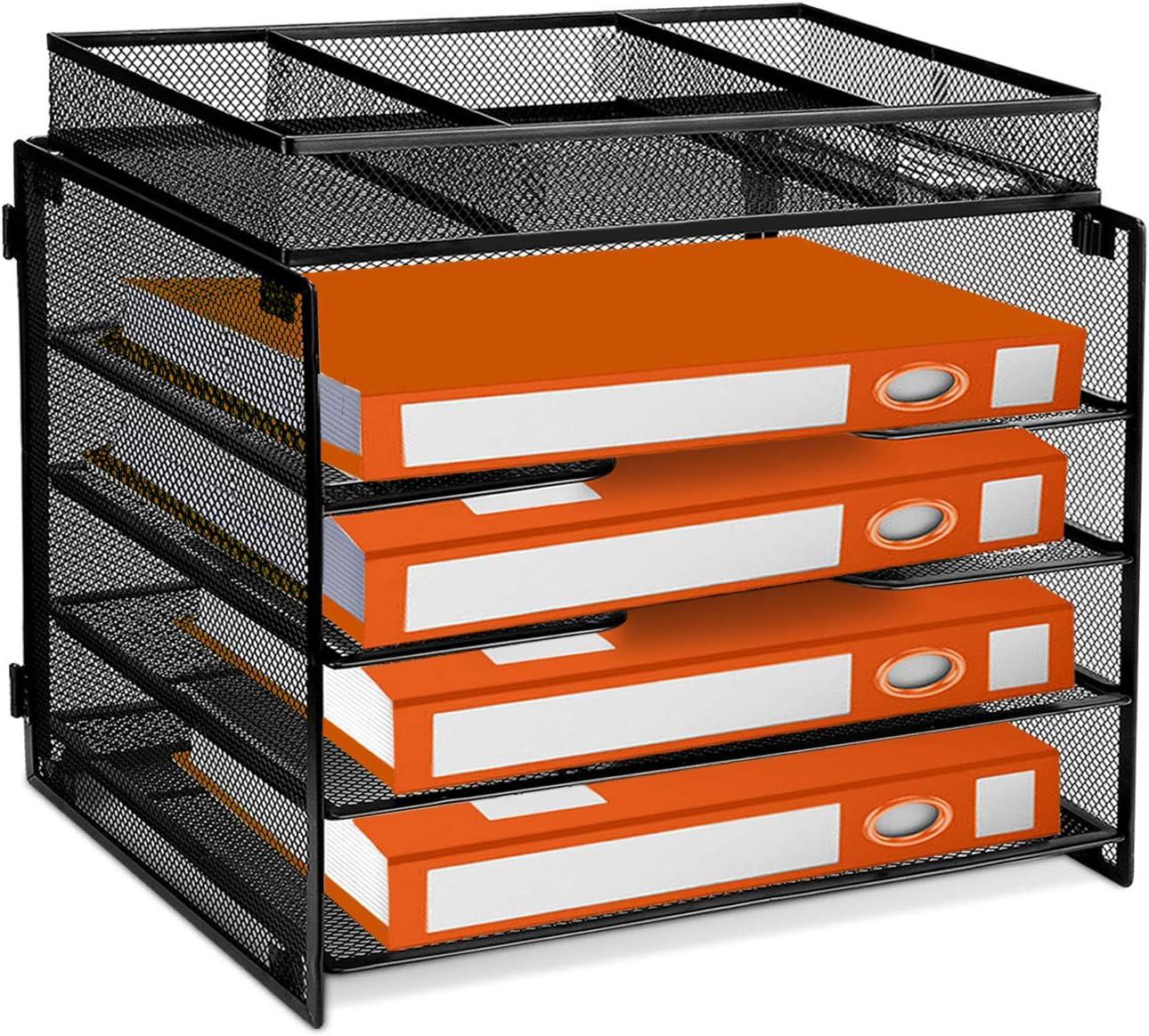 ProAid Desk Letter Tray Organize, Mesh Desktop File Organizer with 48 Tier  Paper Size Shelves and a Sorter for Desk Accessories, Black