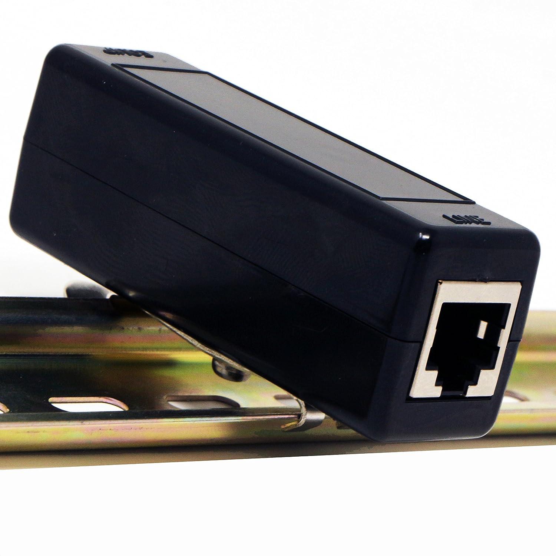 Ethernet Surge Protector DIN Rail or Rack Cabinet Mount 1U GbE PoE+ Gigabit 1000Mbs - LAN Network Thunder Lightning Surge Suppressor/Arrester Protection Tupavco TP309