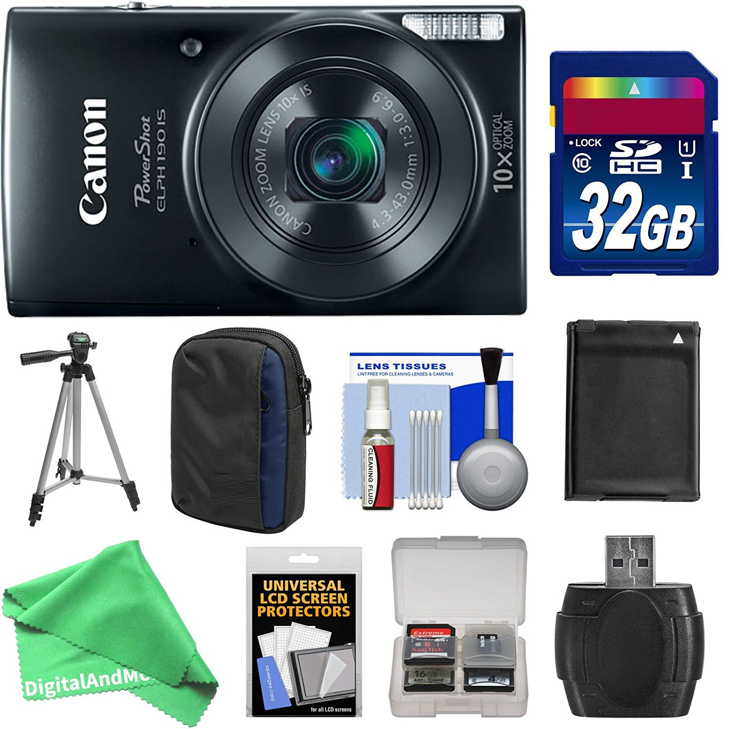 Canon PowerShot Elph 190 IS Wi-Fi Digital Camera (Blue) with 32GB Card + Case + Battery + Tripod + ESSENTIAL DigitalAndMore Kit