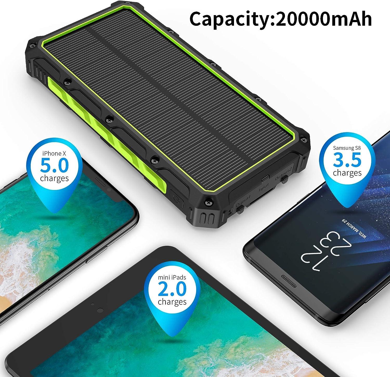 Solar Powerbank,20000mAh Qi Wireless Ladeger/ät Tragbare Powerbank Externer Akku mit 3 Ausg/änge 5V//3A Schnelle Geschwindigkeit/&4 LED Taschenlampen Riesige Kapazit/ät Ladeger/ät f/ür iOS Android