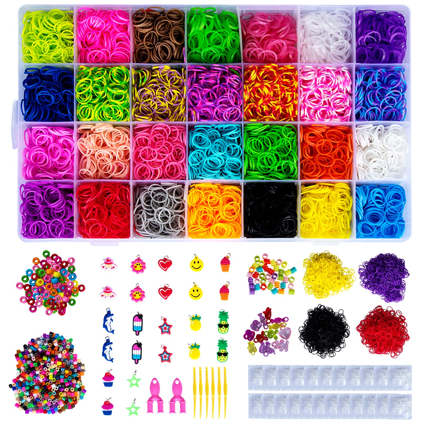 HOMEIDOL 13000+ Rainbow Rubber Bands Refill Kit, 12400 Loom Bands, 34 Charms, 675 Beads, 750 S-Clips, 10 Crystal Pendant,2 Y Loom,6 Crochet, Perfect Set for Prepare for Glory DIY by HOMEIDOL