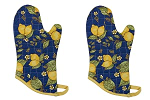 Now Designs Basic Oven Mitts, Provencal Lemon Yellow, Set of 2