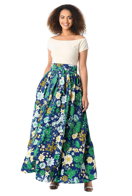 60s Skirts | 70s Hippie Skirts eShakti Womens Floral Print tie Waist Crepe Maxi Skirt $62.95 AT vintagedancer.com