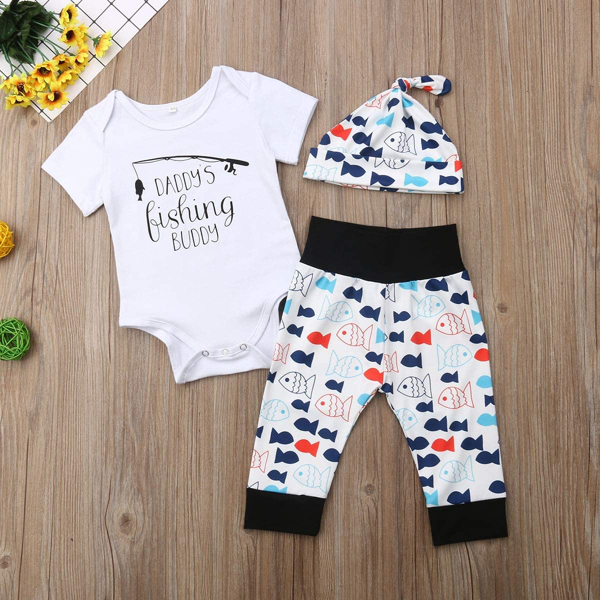 Dookingup 3Pcs Newborn Infant Baby Boy Girls Daddys Fishing Buddy Romper Fish Pants Set Spring Fall Winter Outfit