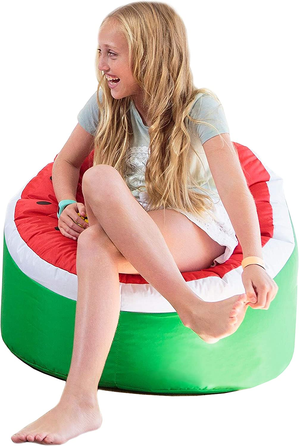 Rickety Rock Kids Bean Bag Chair - Stuffed Animal Storage, Bean Bag Cover for Child Indoor Outdoor Waterproof Polyester, Watermelon