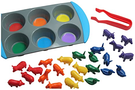 amazon com color sorting learning set sorting tray and farm animal