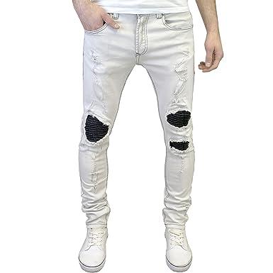 a809a9ffa246 526 Jeanswear 526Jeanswear Mens Designer Branded Super Skinny Biker Ripped  Detailed Jeans (28W x 30L