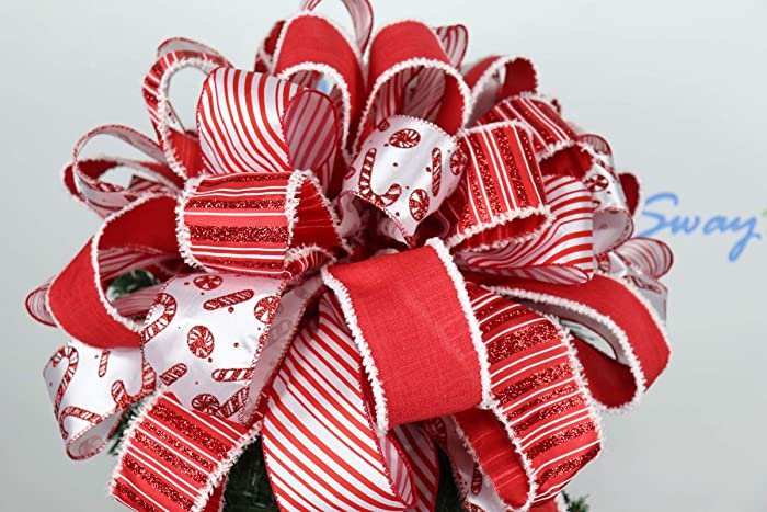 amazon com candy cane christmas tree topper bow red white holiday