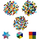 Mosaic Tiles (600 Pcs) - Assorted Broken Pieces in 3 Different Shapes - Multicolor Vitreous Glass for Art & Crafts, Home Decoration, Walls, Furniture, Plates, Photo Frames, Cups, flowerpots, Mirrors