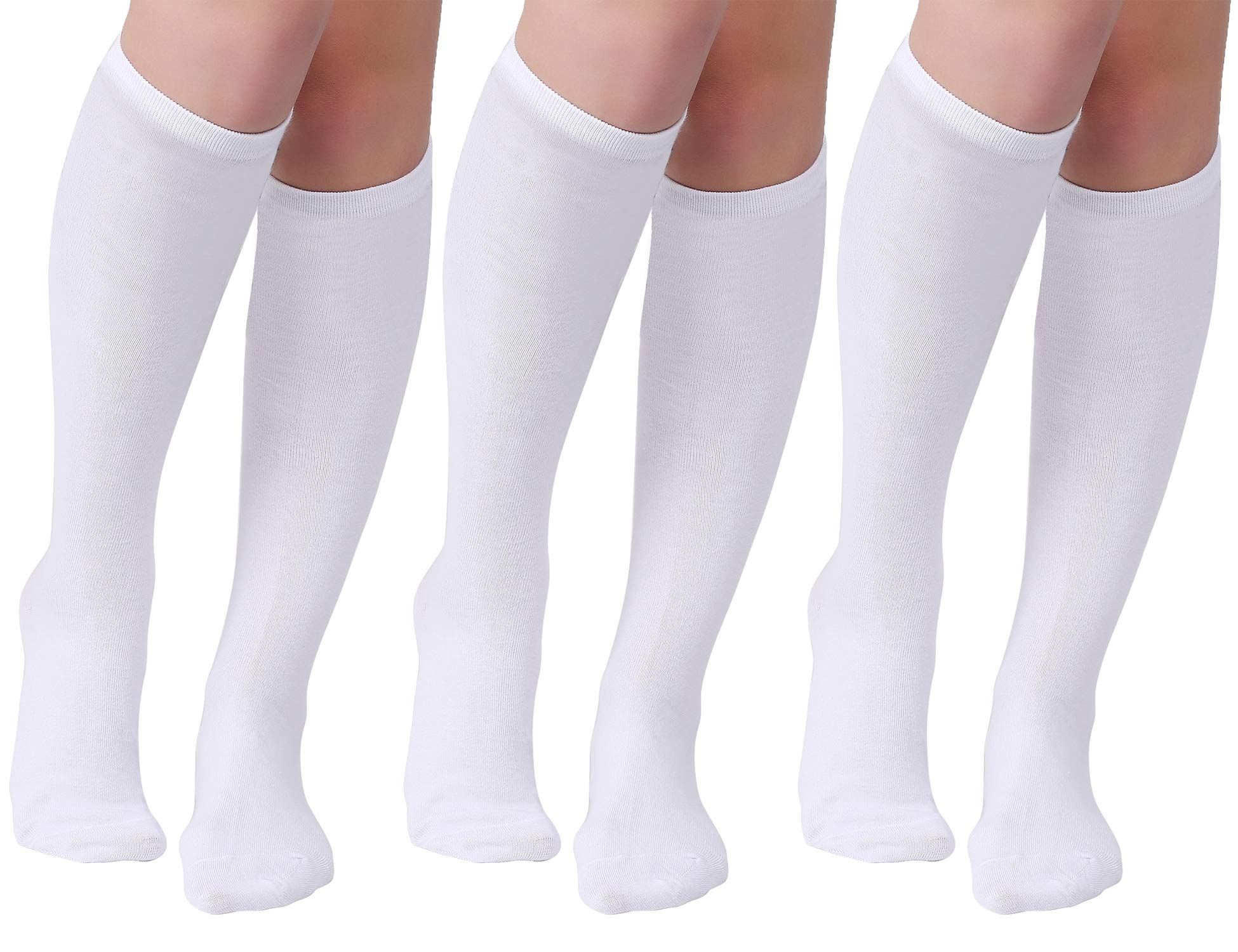 Joulli Women's Casual Stripe Knee High Socks, White, One Size