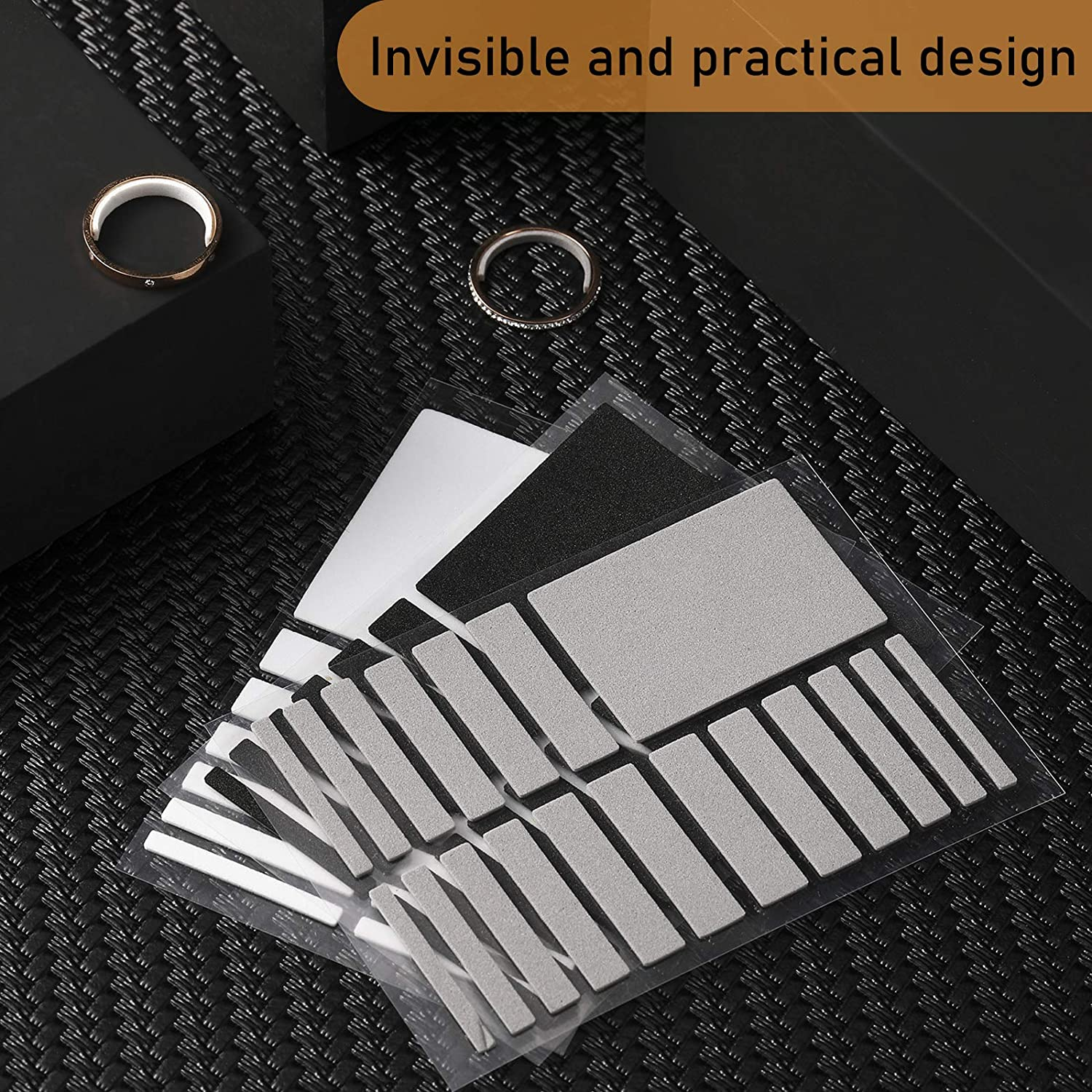 114 Pieces// 6 Sheets Invisible Ring Size Adjuster Loose Ring Sizer Jewelry Ring Guard Ring Smaller Spacer Loose Ring Tightener Ring Fixed Piece for Preventing Ring from Loosening and Slipping Off